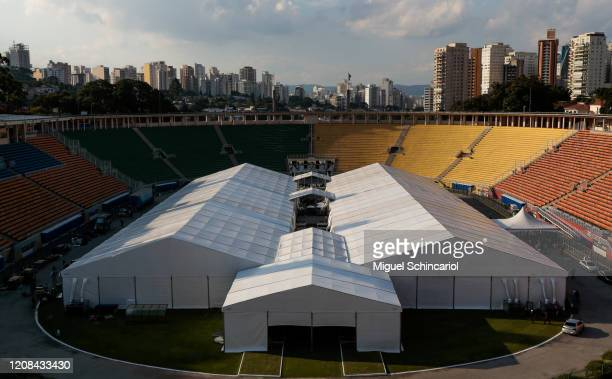 General view of an emergency makeshift field hospital as it is set up at Pacaembu Stadium for coronavirus patients with a capacity of 200 beds on...