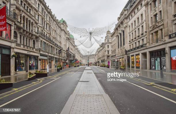 General view of an empty and deserted Regent street in London. The government has issued a 'stay at home' order as the third national lockdown takes...