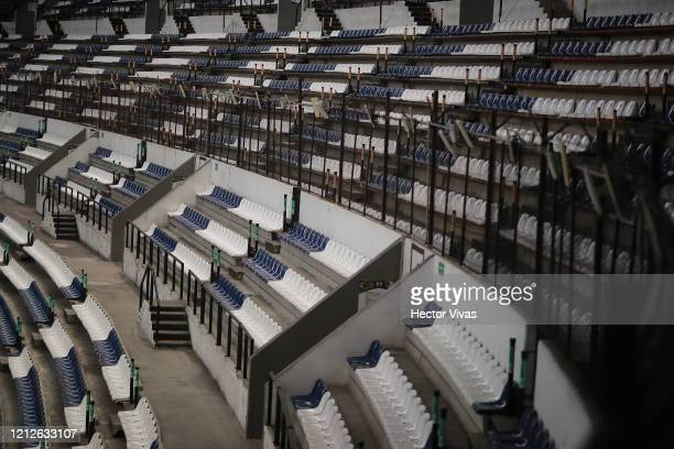 General view of an empty Azteca stadium during the 10th round match between America and Cruz Azul as part of the Torneo Clausura 2020 Liga MX at...