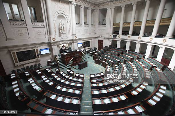 A general view of an empty Belgian House of Representatives at the Belgian Federal Parliament on April 29 2010 in Brussels Belgium Belgian Prime...