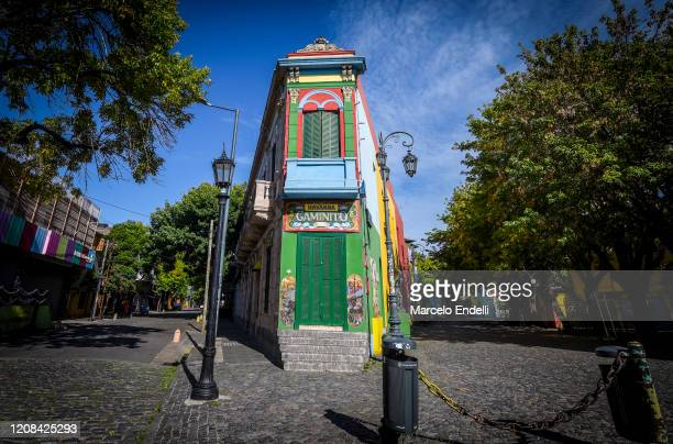 General view of an empty Caminito street at La Boca neighborhood on March 27, 2020 in Buenos Aires, Argentina. President Fernandez ordered a total...
