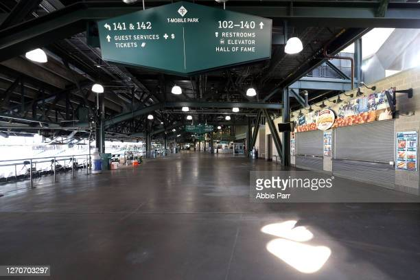 General view of an empty concourse at T-Mobile Park on September 04, 2020 in Seattle, Washington. Fans are not allowed at games this season due to...