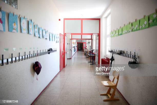 A general view of an empty corridor at the temporarilyclosed SchlossSchule elementary school during the coronavirus crisis on April 15 2020 in...