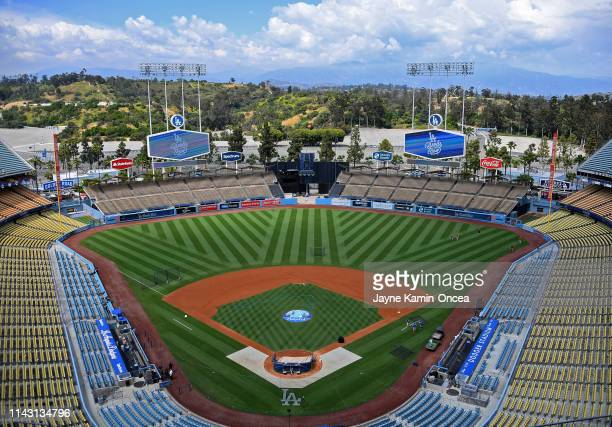 General view of an empty Dodger Stadium before the game between the Los Angeles Dodgers and the Washington Nationals on May 11, 2019 in Los Angeles,...