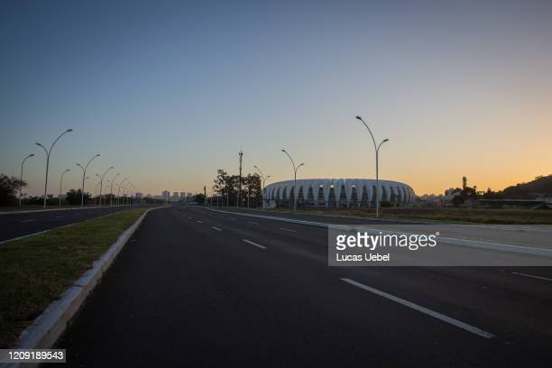 General view of an empty Edvaldo Pereira Paiva Avenue, as the Beira Rio Stadium is seen in the distance, during the coronavirus pandemic on April 5,...