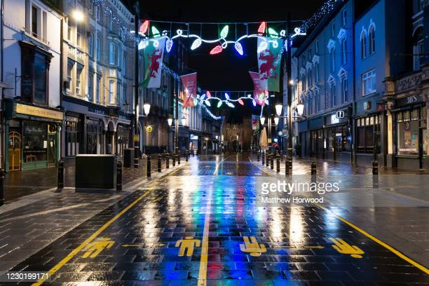 General view of an empty High Street on December 18, 2020 in Cardiff, Wales. A two-household limit will be in place from December 23 to December 27...