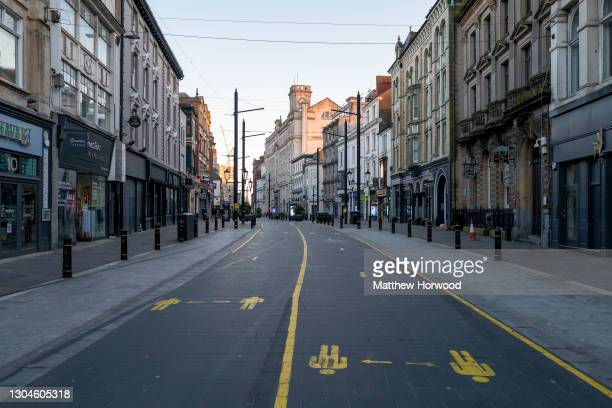 General view of an empty High Street on February 28, 2021 in Cardiff, Wales. Wales went into a Level 4 lockdown from midnight on December 19. All...