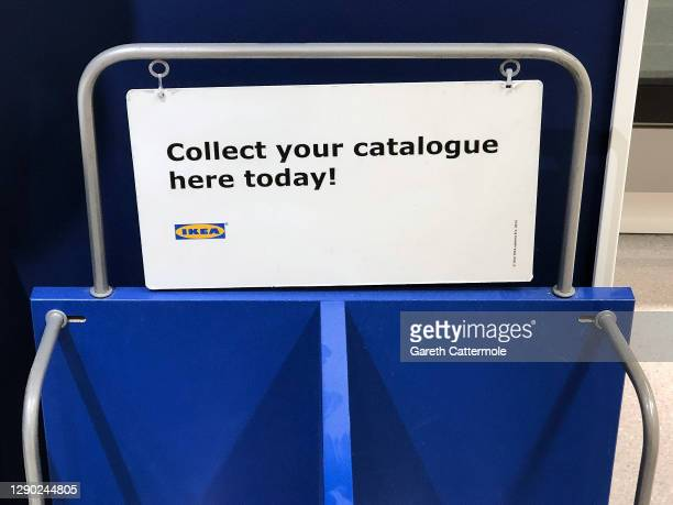 General view of an empty Ikea catalogue stand on December 08, 2020 in Essex, England. Ikea announced that it is to stop printing catalogues after 70...