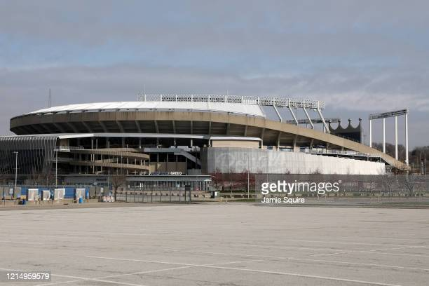 A general view of an empty Kauffman Stadium home of the Kansas City Royals as MLB Opening Day is postponed due to Coronavirus on March 26 2020 in...