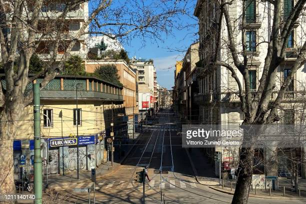 """General view of an empty Lazzaretto street on March 08, 2020 in Milan, Italy. Prime Minister Giuseppe Conte announced overnight a """"national..."""