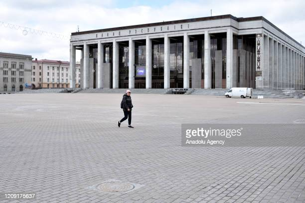 A general view of an empty October Square is seen amid coronavirus pandemic precautions in Minsk Belarus on April 05 2020 Death toll rises to 8 in...