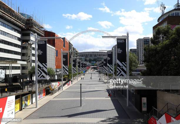 General view of an empty Olympic Way outside Wembley stadium on what should have been FA Cup Final day on May 23 2020 in London England The British...