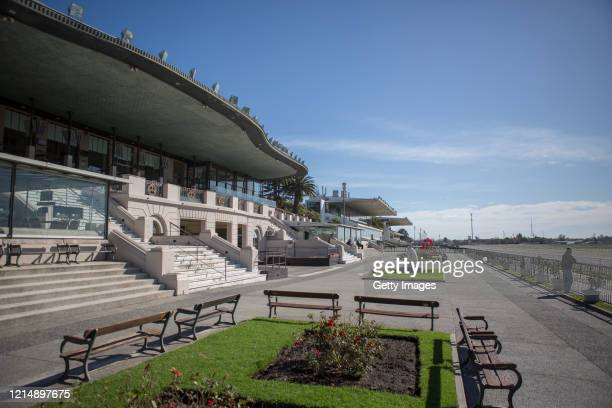 General view of an empty racecourse during competition day as Uruguay slowly returns to normal due to coronavirus outbreak at Maroñas Horse Track on...