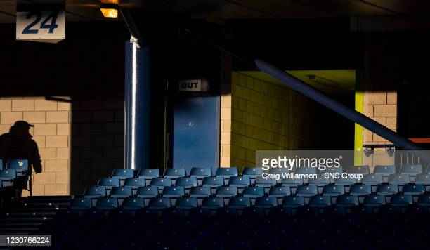 General view of an empty row of seats during a Betfred Cup semi-final between Livingston and St Mirren at Hampden Park, on January 23 in Glasgow,...