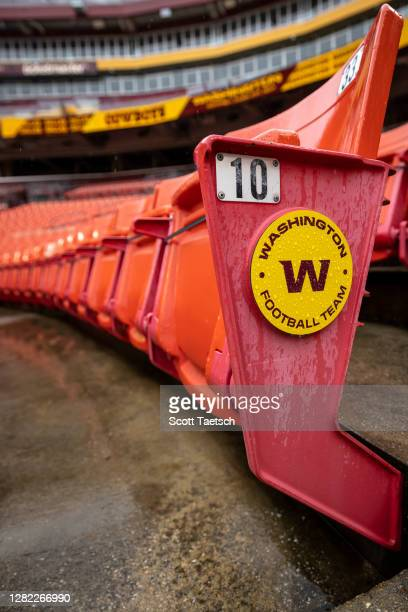 General view of an empty section of seats with a Washington Football Team logo before the game between the Washington Football Team and the Dallas...