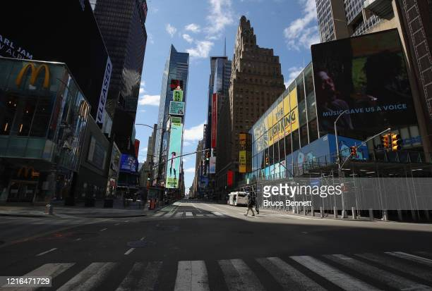 A general view of an empty Seventh Avenue at Times Square in the early afternoon on April 02 2020 in New York City Currently over 92000 people in New...