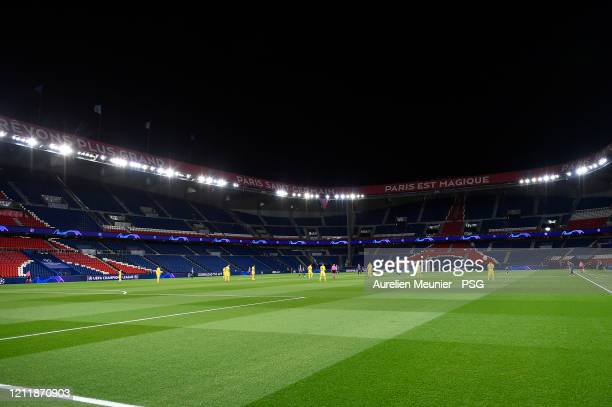 A general view of an empty stadium during the UEFA Champions League round of 16 second leg match between Paris SaintGermain and Borussia Dortmund at...