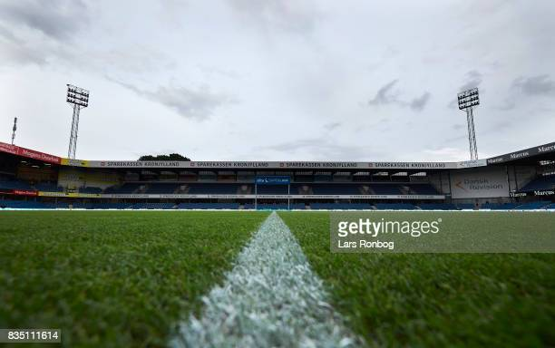 General view of an empty stadium prior to the Danish Alka Superliga match between Randers FC and Silkeborg IF at BioNutria Park on August 18 2017 in...