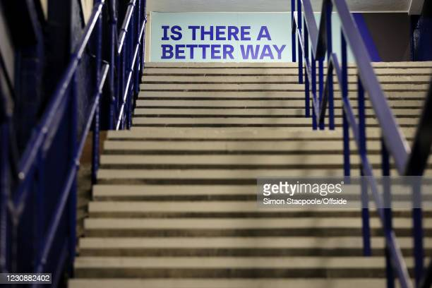 General view of an empty stairwell during the Premier League match between Everton and Newcastle United at Goodison Park on January 30, 2021 in...