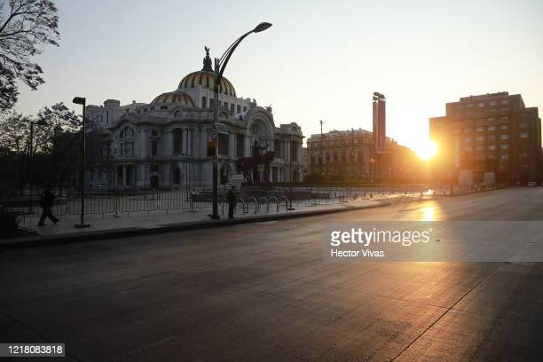 General view of an empty street at Palace of Fine Arts on April 10, 2020 in Mexico City, Mexico. Health Emergency was declared by National Government...