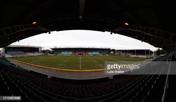 A general view of an empty Twickenham Stoop Stadium before the Women's Six Nations match between England and Wales at Twickenham Stoop on March 07...