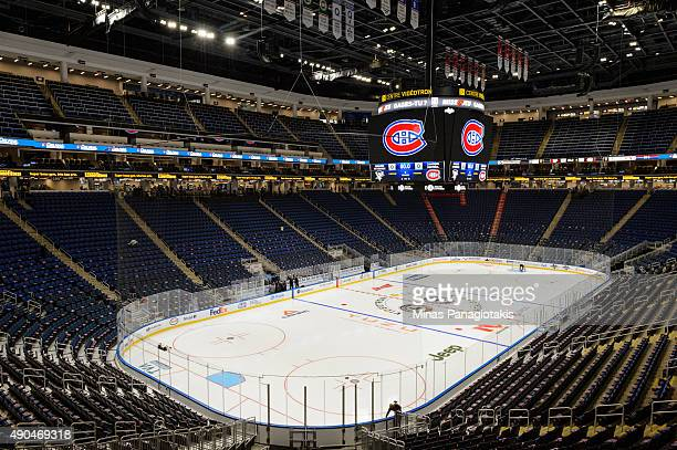 General view of an empty Videotron Centre prior to the NHL pre-season game between the Montreal Canadiens and the Pittsburgh Penguins on September...