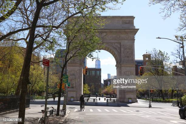 General view of an empty Washington Square Park in Greenwich Village during the Corona virus Pandemic on April 22, 2020 in New York, NY.