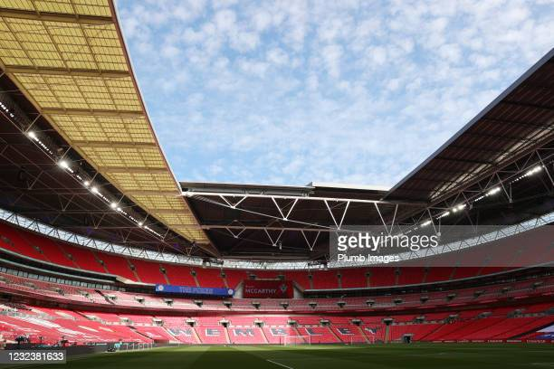 General view of an empty Wembley Stadium ahead of the Semi Final of the Emirates FA Cup match between Leicester City and Southampton FC at Wembley...