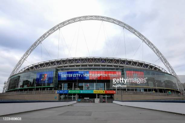General View of an empty Wembley Stadium before the Sky Bet League 2 Play-Off Final match between Exeter City and Northampton Town at Wembley...