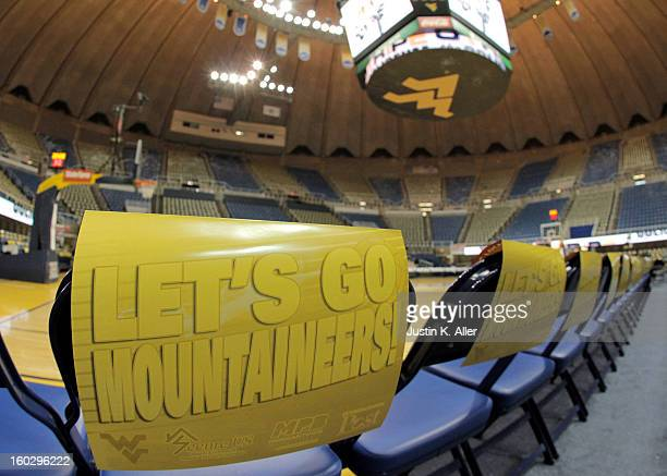 A general view of an empty WVU Coliseum before the game between Kansas and West Virginia at the WVU Coliseum on January 28 2013 in Morgantown West...