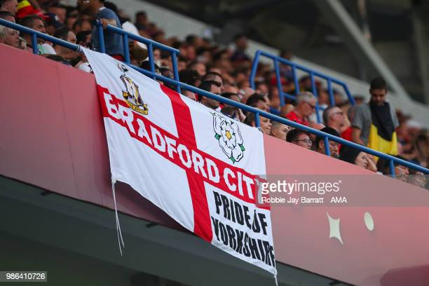 General View of an England fan's Bradford City flag during the 2018 FIFA World Cup Russia group G match between England and Belgium at Kaliningrad...