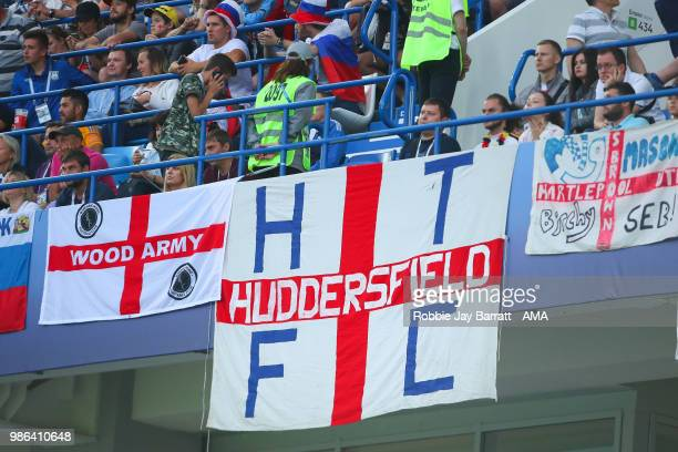General View of an England fan's Huddersfield Town flag during the 2018 FIFA World Cup Russia group G match between England and Belgium at...