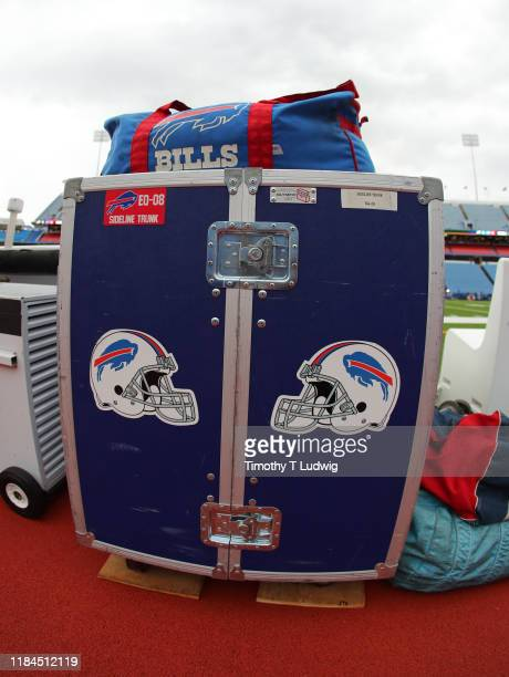 General view of an equipment case used by the Buffalo Bills before a game against the Philadelphia Eagles at New Era Field on October 27, 2019 in...