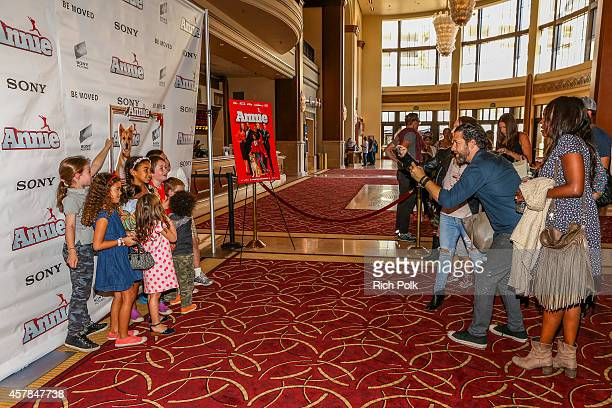 A general view of an event where Max Greenfield and daughter Lilly Greenfield host a screening of ANNIE for friends and family at Pacific Theaters at...