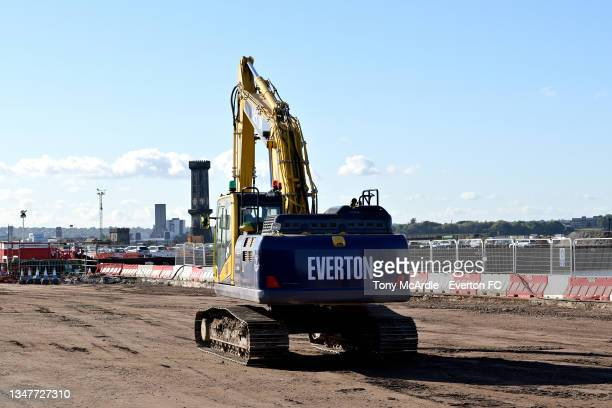 October 15: A general view of an Everton branded construction vehicle at Bramley-Moore Dock as work continues on the the construction of a new...