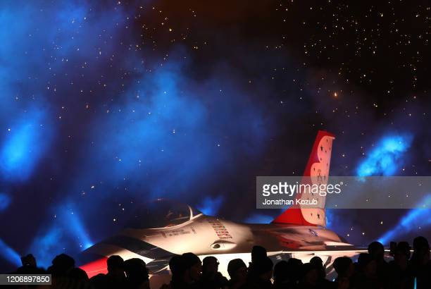 General view of an F-16 is seen on the field during the 2020 NHL Stadium Series game between the Los Angeles Kings and the Colorado Avalanche at...