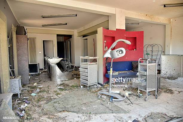 A general view of an hairdresser saloon after the tornado of last night on July 9 2015 in Venice Italy A tornado swept through the outskirts of...
