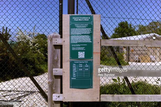 A general view of an information sign at the entrance to the Church Crookham and Fleet Men's Shed on May 06 2020 in Church Crookham England Following...