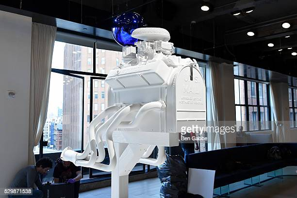 A general view of an instillation by Jeff Koons at the Jeff Koons x Google launch on May 09 2016 in New York New York