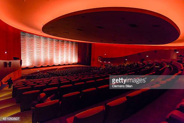 General view of an interior at cinema Zoo Palast on November 21, 2013 in Berlin, Germany. In 2010 the Berlin Zoo Palast closed its doors to undergo a...