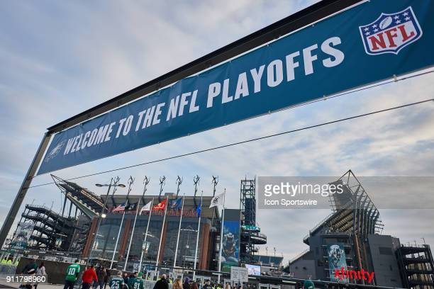 A general view of an NFL Playoffs sign is seen outside of Lincoln Financial Field during the NFC Championship Game between the Minnesota Vikings and...