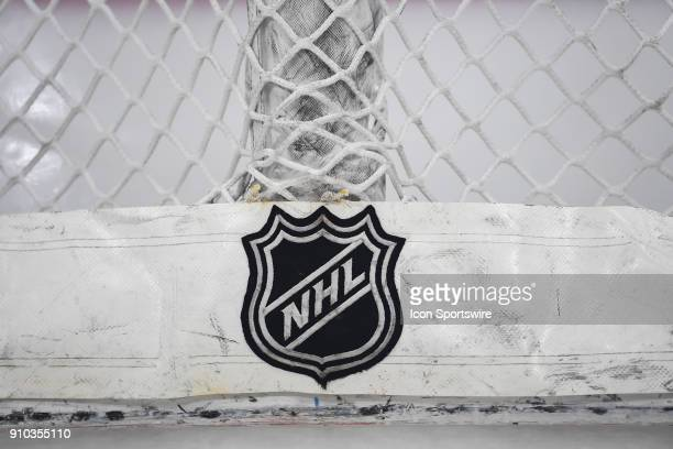 A general view of an NHL logo on the back of a net during warms up prior to a game between the Chicago Blackhawks and the Tampa Bay Lightning on...