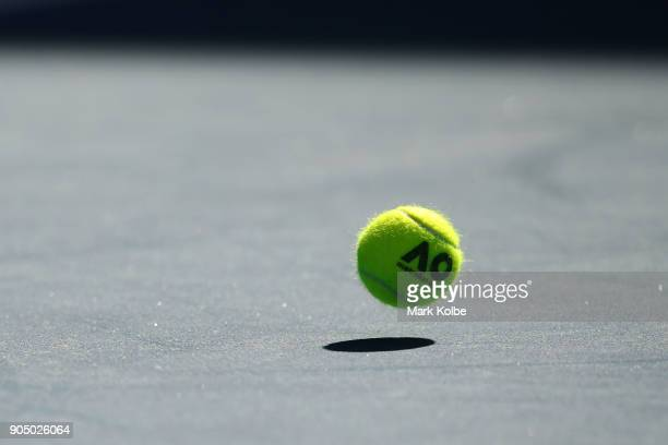 A general view of an official Australian Open tennis ball on day one of the 2018 Australian Open at Melbourne Park on January 15 2018 in Melbourne...