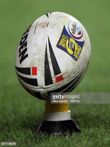 General view of an Official Steeden match ball sitting on a kicking tee