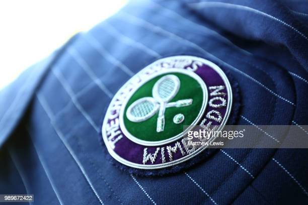 A general view of an official's badge on day one of the Wimbledon Lawn Tennis Championships at All England Lawn Tennis and Croquet Club on July 2...