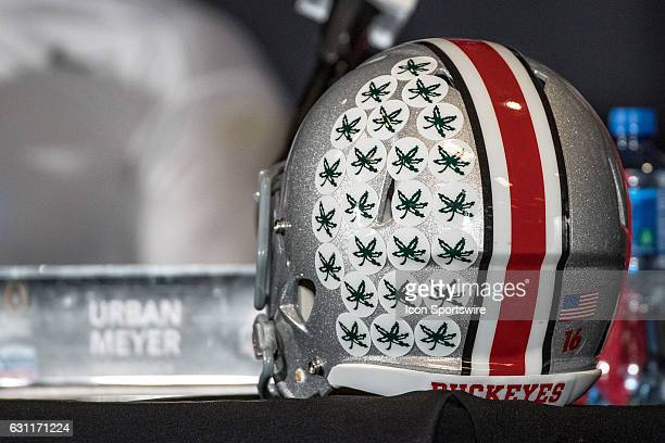A general view of an Ohio State Buckeyes helmet rests on a table during the Playstation Fiesta Bowl against the Ohio State Buckeyes at University of...