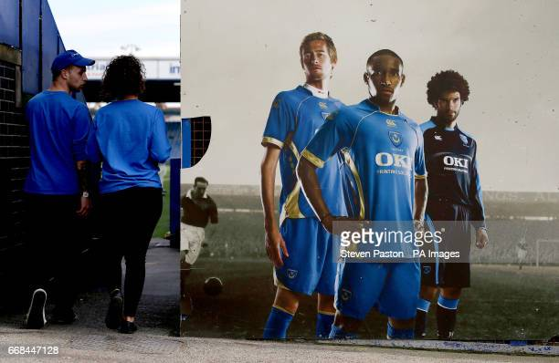 General view of an old advertising board including former players Peter Crouch, Jermain Defoe and David James inside the ground before the Sky Bet...