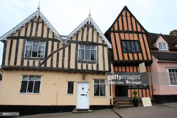 General view of an old timber framed building in Lavenham Village Suffolk