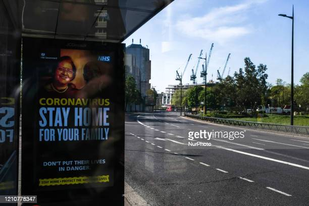 General view of an otherwise empty Park Lane, on April 23, 2020 in London, England. The British government has extended the lockdown restrictions...