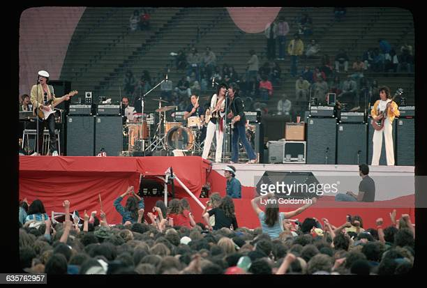 1978 A general view of an outdoor concert of the British rock roll band The Rolling Stones Left to right Mick Jagger singer Charlie Watts drummer Ron...